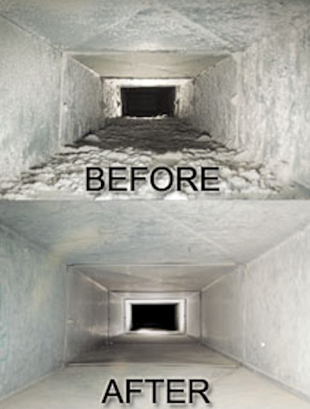 Love Cleaning - Air Duct cleaning before and after photo